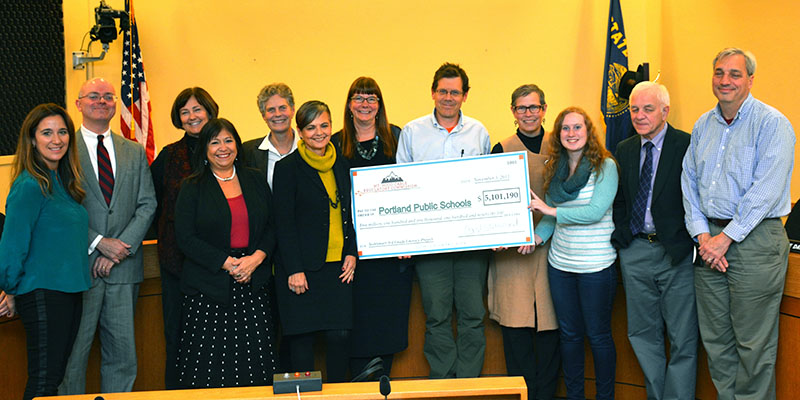 Presentation of Check to PPS for TechSmart Grant